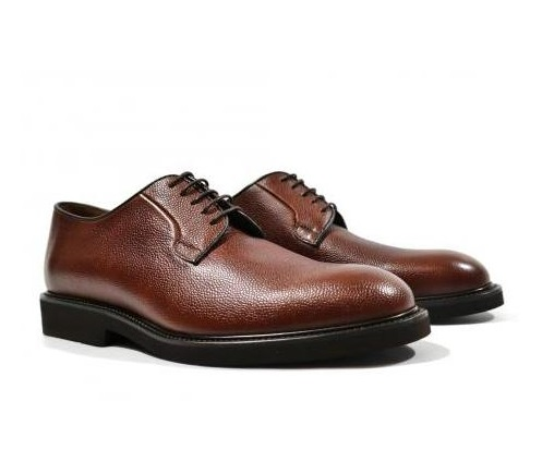 Engraved leather lace-up shoes